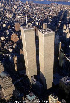 Looking Down, Aerial View, Manhattan, New York City, New York, USA,Twin Towers, World Trade Center, designed by Minoru Yamasaki, Internation...