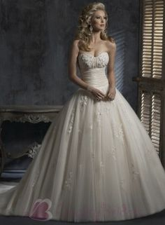 Light Gold Romantic Embellished lace Ball Gown Corset Wedding Dress