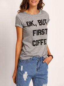 T-Shirt Rundhals mit Buchstaben Druck lässig -grau