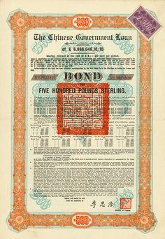 "Chinese Government (Skoda Loan II, Kuhlmann 704 I) 30 September 1925, 8 % Bond of £ 500, #21820, 38.2 x 26 cm, turquoise, orange, beige, black, vertical fold small tears, 15 coupons, Sticker: ""£500""."