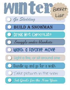 Winter Bucket List- free printable