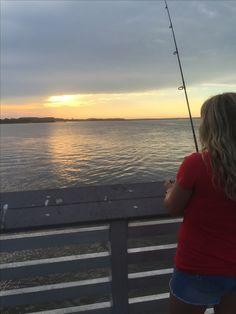 Fishing and watching the sunset! #fishing #beach #edisto #southern #merica #sc
