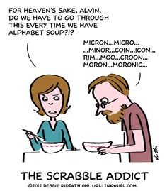 Scrabble addict (inspired by my friend John Chew) | Inkygirl.com