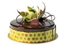 Chocolate Caramel Mirror Cake by Norman Love Confections featuring chocolate mousse, caramel cream, chocolate cake and sable. Beautiful Desserts, Beautiful Cakes, Amazing Cakes, Fancy Desserts, Fancy Cakes, Mirror Glaze Cake, Mirror Cakes, Norman Love, Geometric Cake