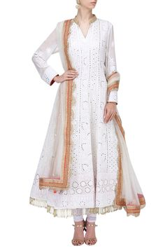 Rang By Manjula Soni presents White chikankari embroidered anarkali set available only at Pernia's Pop Up Shop. Pakistani Party Wear, Pakistani Dresses, Indian Dresses, Indian Outfits, Stylish Dresses, Fashion Dresses, White Anarkali, Salwar Designs, Traditional Fashion