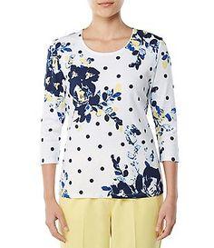 ba64e14fd5c Allison Daley 3 4 Sleeve Floral Polka Dot Print Tee Polka Dot Print