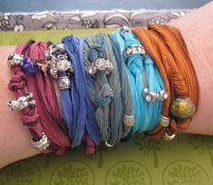 Dyed silk bracelets