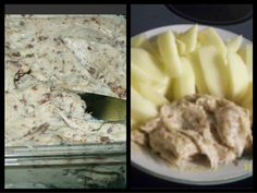 Apple Toffee Dip ~  2 8oz cream cheese  3/4 cups brown sugar  1/4 cup sugar  1 tsp vanilla  1 pkg heath toffee bits  Mix everything together and serve with apple slices!