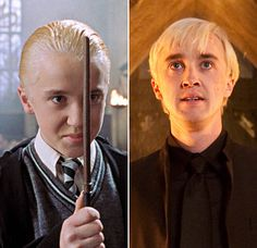 Harry Potter Stars: Then & Now: Tom Felton as Draco Malfoy  Left: In 2002's Harry Potter and the Chamber of Secrets and Right: In 2011's Harry Potter and the Deathly Hallows: Part 2