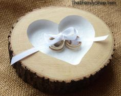Recessed Heart Ring Bearer Pillow with Ribbon Tie-Down, Rustic Log Ring Dish Wedding Engraved Ring Bearer Pillows, Ring Pillows, Rustic Wedding Rings, Wedding Country, Ring Pillow Wedding, Ring Dish, Rustic Style, Wedding Signs, Wedding Ideas