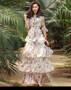 Verragee Women Summer Autumn Long Dress Layer Floral Print Chiffon Dress V Neck Party Dresses Long Casual Maxi Plus Size Dress
