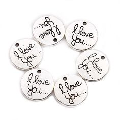 Lot-20-100pcs-Antique-Silver-Gold-Round-Charms-I-Love-You-Charms-Pendant-20mm
