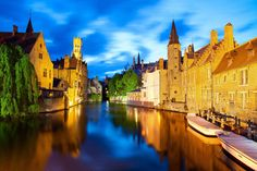 Photographic Print: Night View of Canal in Bruges World Heritage Site of UNESCO by BlueOrange Studio : Cinque Terre, Chateau Hotel, European Travel, World Heritage Sites, Medieval, Tokyo, Photos, City, Places