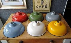 Lamp-shade-Light-Shade-Industrial-Vintage-Enamel-Retro-6-x-Different-Colours