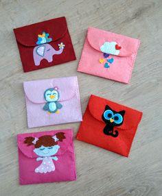 Keçe ped çantası cüzdan.. Rengarenk fil bulut penguen kız karakedi