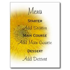 A Wedding Menu Card Yellow Gerbera Postcards in each seller & make purchase online for cheap. Choose the best price and best promotion as you thing Secure Checkout you can trust Buy bestReviewlowest price Fast Shipping and save your money Now!!...