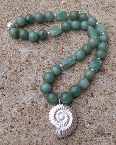 Green Aventurine Gemstone Silver Ammonite Fossil Necklace