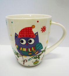 Tasse / Kaffeebecher Eule / Weihnachten  Porzellan