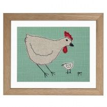 chicken - small embroidered picture