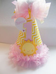 Pretty in Pink Sunshine Girl - Light Pink and Yellow Chevron - You Are My Sunshine Birthday Party Hat - Personalized