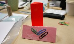 Easy! Daniel Emma's magnetic paperclip holder - via Five Thousand.  Think instead of a prism, you could experiment w/making molds fr other objects - heck you could first cast a mold fr say a plastic bunny, then proceed w/ the plaster and magnet! #office #gifts #diy #make #kids #christmas #birthday #fun