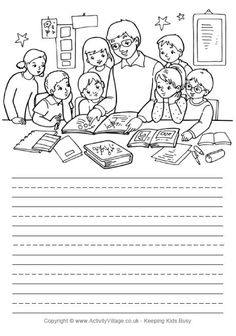 Kids can use these delightful illustrated school story paper pages as inspiration for their own stories or journal writing. Creative Writing Worksheets, Worksheets For Grade 3, Writing Prompts For Kids, Writing Activities, Library Activities, Picture Story Writing, Writing Pictures, Composition Writing, Picture Composition
