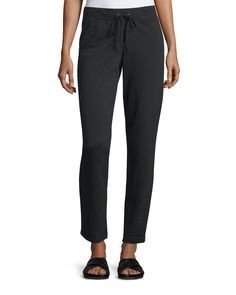 Neiman Marcus Active Drawstring French Terry Pants, Black, Women's, Size: L