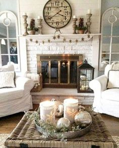 Gorgeous French Country Living Room Decor Ideas Mirrors Framing The Fireplace And Clock Over Mantle