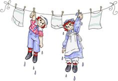 Raggedy Ann and Andy dry out!