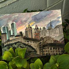 City sunset watercolor illustration