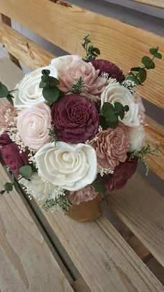 This listing is to purchase a Custom Made to order size Small-Medium Sola wood Flower bouquet from my Deluxe floral Collection. Natural Ivory Sola Flowers along with Blush Pink, Dusty pink, soft rose gold simmer and Burgundy /wine Flowers, Cream Dried Baby's Breath and Dyed