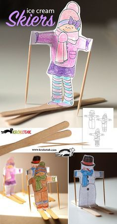 Ice cream skiers and ideas for easy winter crafts for kids! Winter Activities, Craft Activities, Preschool Crafts, Kids Crafts, Arts And Crafts, Children Activities, Christmas Activities, Toddler Crafts, Winter Art Projects