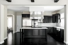black and white kitchen of kylie jenner  - HouseBeautiful.com #celebritykitchens #kyliejenner