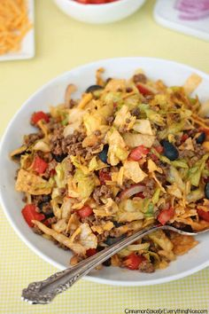 Add some crunch to this chopped taco salad with a sprinkling of crumbled tortilla chips.
