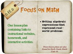 One lesson plan that covers writing algebraic expressions that represent real world problems. Contains links to instructional websites and videos, manipulatives and/or games, as well as free homework. Ready to teach from at a moment's notice! Interactive Activities, Math Activities, Teacher Resources, Teacher Freebies, Teaching Tools, Teaching Math, Teaching Ideas, Creative Teaching, Writing Algebraic Expressions