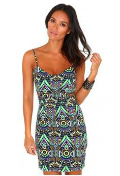 Missguided - Caryl Cut Out Aztec Print Mini Dress