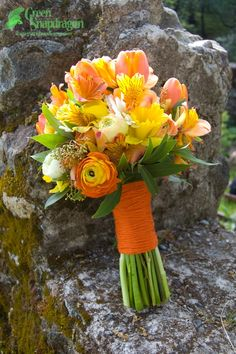green Alstroemeria Wedding Bouquet | Bridal bouquet with tulips, alstroemeria, ranunculus, gerbera daisies ...