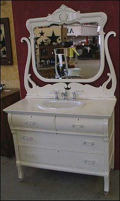 Vintage bathroom vanity in white