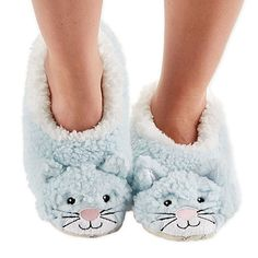 Amazon.com: Snoozies Womens Animal Heads Sherpa Plush Fleece Lined Footcoverings Cat Large: Shoes