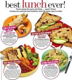 A few quick, easy ideas to spice up lunch while keeping it healthy. Re-pin now, check later. #cleaneating #eatingclean
