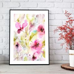 Original floral painting. Pink flowers. Abstract flowers painting. Watercolor painting for home decor. #interiorart #abstract #floral #artwork #watercolor #floralpainting