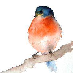 Dark Blue and Orange Bird - Small Original Watercolor Painting.