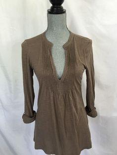 Ann Taylor LOFT Brown Tunic Shirt X-Small XS Womens Long Sleeve Solid Casual #AnnTaylorLOFT #Tunic #Casual