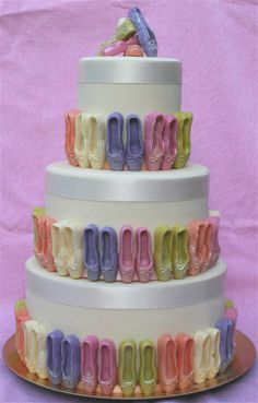 birthday cake - I'd stick with the ivory, light pink, and a darker pink though ;)