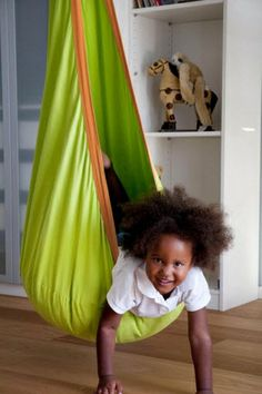 """Children will love hanging out in the Joki Planet Organic Green Apple Hanging Crow's Nest. They'll love having there own """"go to"""" space where they can unwind from a day at school. Soft swinging stimulates the sense of balance and will promote your child's development"""