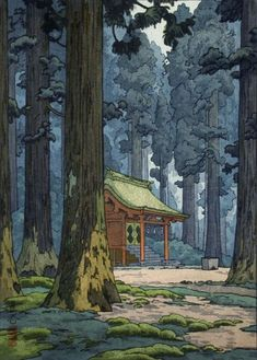 SACRED GROVE BY YOSHIDA TOSHI. Magnicicant colors! The sunlight filtering through the trees is beautiful. The tranquility of the site easy conveyed to the viewer. Perfection!!