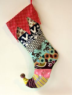 christmas stocking, Not a fan of the shape, but I LOVE all the neat contrasting patterns/ colors! Christmas Time Is Here, All Things Christmas, Christmas Holidays, Christmas Decorations, Christmas Tree, Christmas Gift Bags, Homemade Christmas, Holiday Crafts, Holiday Fun