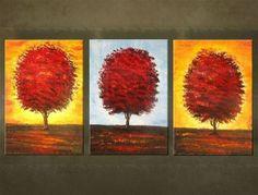 Ručne maľovaný obraz STROM 3 dielny - AHD24582