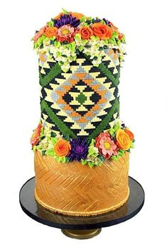 "Cake Wrecks - Home - Southwestern Sweets ""wool"" blanket and flowers cake by Queen of Hearts Couture Cakes"
