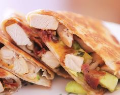 Cheesy Chicken, Bacon & Avocado Quesadillas